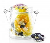 image of candy  - Candied sugared violet flowers in glass jar - JPG
