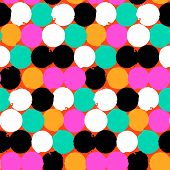 picture of color spot black white  - Bold geometric pattern with randomly colored circles in bight yellow - JPG