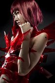 stock photo of woman dragon  - Manga robot with red armor - JPG