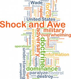 picture of shock awe  - Background concept wordcloud illustration of shock and awe - JPG