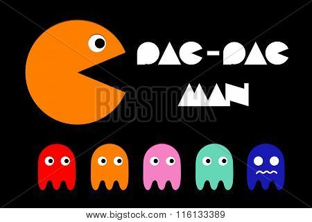 Pac man icon and ghosts  Retro computer arcade game vector flat characters  set poster