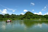 Tourist boat to perfume pagoda poster