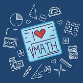 Math education vector background poster