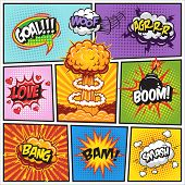 Постер, плакат: Set of comics speech and explosion bubbles 2