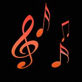 foto of music note  - abstract art orange musical notes on black - JPG