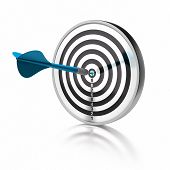 image of goal setting  - blue dart pointing the center o a target the target is isolated over white background - JPG