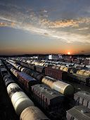 stock photo of chug  - Railroad cars on a railway station - JPG