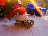 Christmas Still Life Of A Toy Sled, Vintage Photo, Gifts For Christmas On Wooden Sled, Merry Christm poster