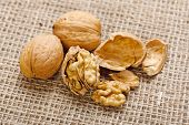 Walnuts On Homespun Linen Background