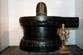 foto of lingam  - A Sivalingam at a Hindu temple awaits worshippers - JPG
