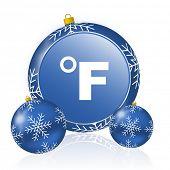Fahrenheit blue christmas balls icon poster