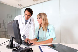 stock photo of medical office  - Medical people working in office - JPG