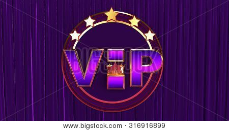 poster of 3d Rendering Of Golden Vip Withe Crown, Royal Gold Vip Crown On A Silk Background, Crown Vip With St