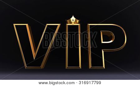 poster of 3d Rendering Of Golden Vip Crown, Royal Gold Vip Crown On Pillow, Crown Vip