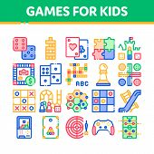 Interactive Kids Games Thin Line Icons Set. Domino, Chess And Video Games Controller Linear Pictogra poster