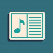Green Music Book With Note Icon Isolated On Blue Background. Music Sheet With Note Stave. Notebook F poster