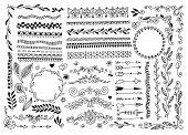 Set Of Hand Drawing Doodle Page Divider, Border, Corner In Doodle Floral Style poster