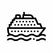 Public Transport Ferry Thin Line Sign Icon. Sea Ship Boat Ferry, Urban Passenger Transport Linear Pi poster