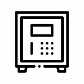 Electronic Safe Deposit Thin Line Icon. Safe Deposit For Guests Valuables, Hotel Performance Of Serv poster