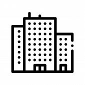 Tenement House Skyscraper Thin Line Icon. Skyscraper Building Collective Housing Linear Pictogram. M poster