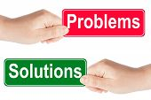 pic of traffic rules  - Problems and Solutions traffic sign in the hand on the white background - JPG