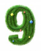 9 Number Made Of Christmas Tree Branches