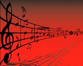 pic of music note  - Abstract music background with different notes and lines - JPG