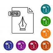 Grey Line Eps File Document. Download Eps Button Icon Isolated On White Background. Eps File Symbol. poster