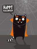 Funny Halloween Vector Illustration With Vampire Cat And Cobweb.scary Cat On The Dark Gray Backgroun poster