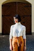 Stylist Fashion Expert. Fashion Girl. Femininity And Emphasize Feminine Figure. High Waisted Trouser poster