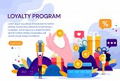 Customer Loyalty Marketing Program, Returning Customer Flat Vector Illustration With Icons And Eleme poster