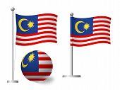 Malaysia Flag On Pole And Ball. Metal Flagpole. National Flag Of Malaysia  Illustration poster