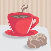 pic of latte coffee  - Red cup of coffee and two chocolate cakes - JPG