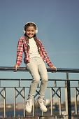 Enjoy Sound. Make Your Kid Happy With Best Rated Kids Headphones Available Right Now. Girl Child Lis poster