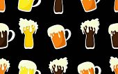Beer Mug Pattern.cartoon Pattern With Seamless Background Of Mugs And Tankards Full Of Light Beer, L poster