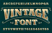 Vintage 3d Alphabet Font. Ornate Retro Letters And Numbers. Vector Typeface For Your Typography Desi poster