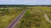 Empty Straight Single-way Railways At Summer Sunny Day. Aerial View From Drone On Endless Railway Wi poster