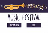 Jazz Music Festival Or Concert Vector Web Template. Trumphet With Music Notes On Dark Blue Backgroun poster