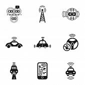 Self Driving Car Icon Set. Simple Set Of 9 Self Driving Car Vector Icons For Web Design Isolated On  poster