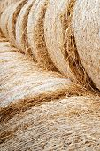 Hay Stacks. Close-up Of Large Hay Bales Stacked In Stacks. poster