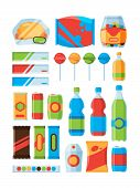 Snack Fast Food. Soda Drinks Chips Nuts Chocolate Bars Vendor Machine Products Vector Pictures. Illu poster
