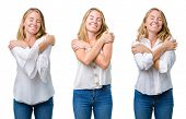 Collage of beautiful blonde woman over white isolated background Hugging oneself happy and positive, poster