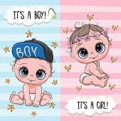 Baby Shower Greeting Card With Cute Babies Boy And Girl poster