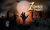 Zombie In The Cemetery. Zombie Hand Rising From The Grave At The Graveyard With Tombstones And Moon  poster