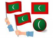 Maldives Flag In Hand Set. Ball Flag. National Flag Of Maldives Illustration poster