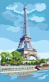 Colorful Vector Illustration Of Eiffel Tower, Landmark Of Paris, France. Cityscape With Eiffel Tower poster