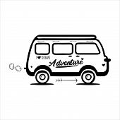 Icon Bus Isolated In White Background, Bus Icons With Cool Style, Trendi Vector Bus poster