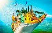 Tourist Collage, Travel, Attractions Of The World Against The Blue Sky And Abstract Cruise Ship. Wor poster