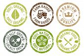Organic Food, Farm Fresh And Natural Products Stickers Collection. Vector Illustration For Food Mark poster