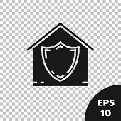 Black House Under Protection Icon Isolated On Transparent Background. Protection, Safety, Security,  poster